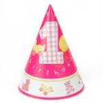GIRLS LITTLE 1st BIRTHDAY CONE HATS