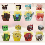 Minecraft Cupcake Toppers with Wrappers
