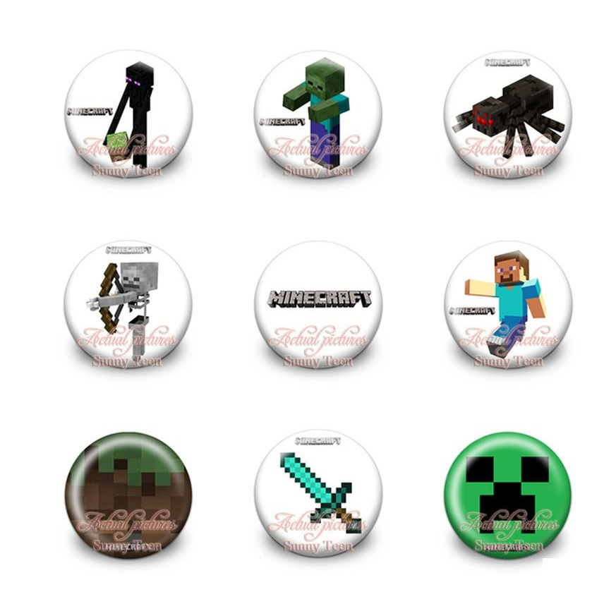 minecraft button pin badges this party started. Black Bedroom Furniture Sets. Home Design Ideas