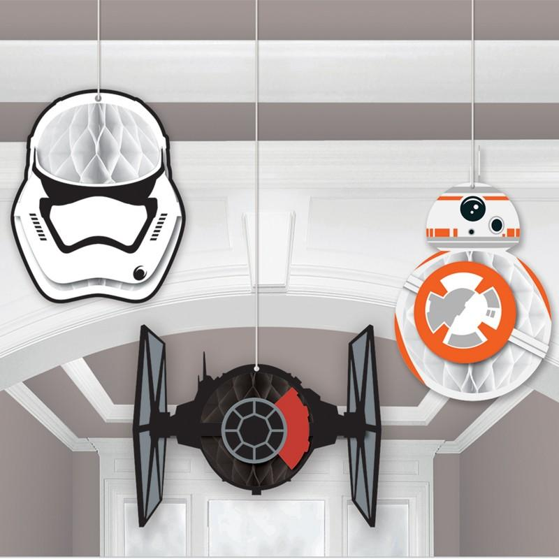 Star wars honeycomb decoration this party started - Decoration table theme star wars ...