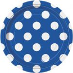 DOTS ROYAL BLUE 7in. PAPER PLATES