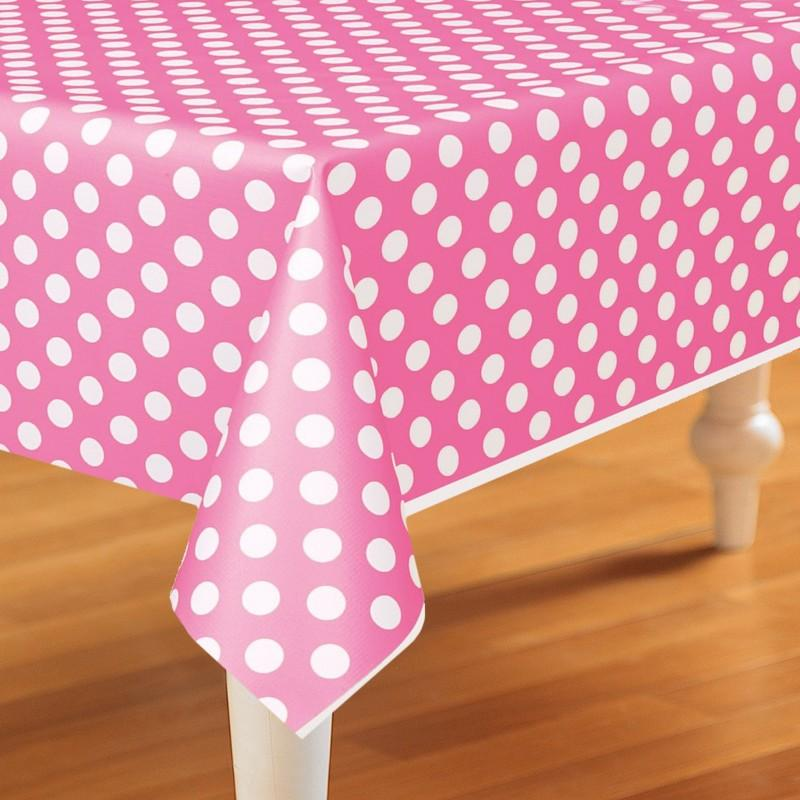 Pink 1st Birthday Polka Dot Candle: Pink Polka Dots Plastic Tablecover