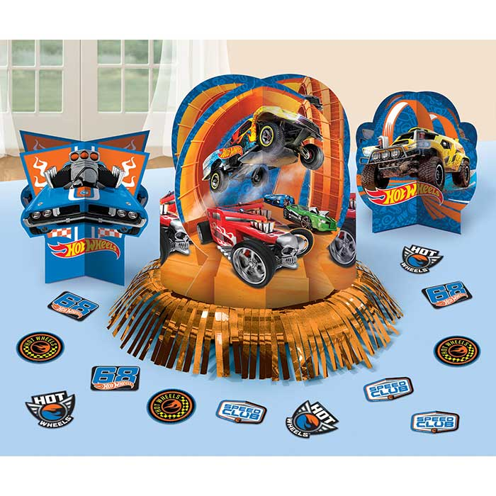 Hot wheels table decorating kit party