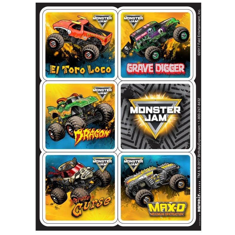 Monster Jam Crunch Sticker Sheets | Monster Jam Trucks Party ...