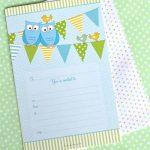 OWL BLUE INVITATIONS