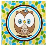 OWL BLUE LUNCH NAPKINS