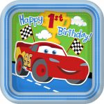 CARS 1ST BIRTHDAY CHAMP DINNER PLATES