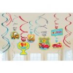 CARS 1st BIRTHDAY CHAMP HANGING SWIRL DECORATIONS