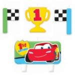 CARS 1st BIRTHDAY CHAMP MOLDED CANDLES