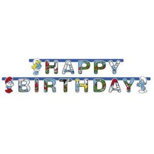 Smurfs Happy Birthday Letter Banner
