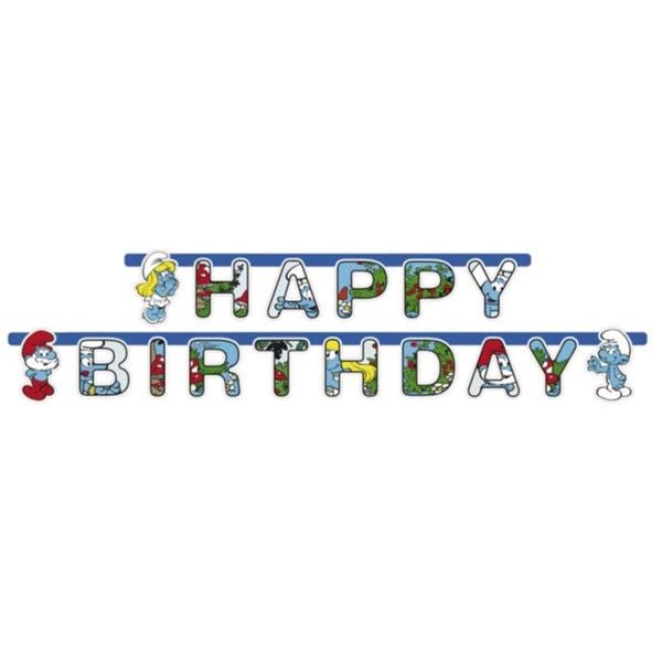 Smurfs Happy Birthday Letter Banner