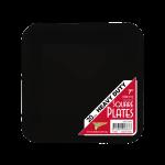 BLACK DESSERT PLASTIC SQUARE PLATES