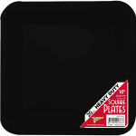 BLACK DINNER PLASTIC SQUARE PLATES