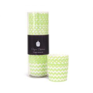 Apple Green Chevron Baking Cups - Paper Eskimo