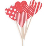 Red & White Heart Cupcake Toppers - Paper Eskimo