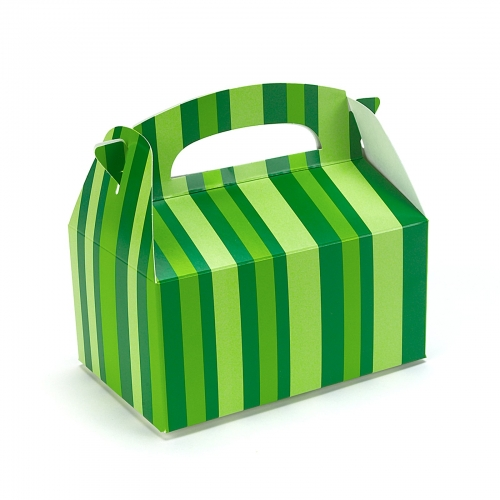 Caribbean Blue Favor Boxes : Green striped empty favor boxes this party started
