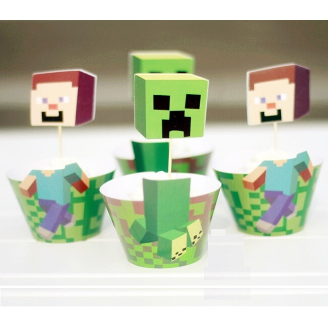 Cake Toppers Minecraft Uk : Minecraft Characters Cupcake Wrappers & Toppers This ...