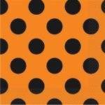 DOTS ORANGE & BLACK 16 LUNCHEON NAPKINS