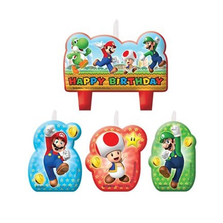 Super Mario Birthday Candles 4ct This Party Started