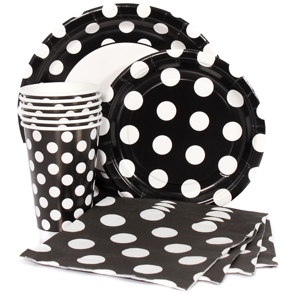 Black Polka Dot Party Supplies