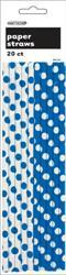 DOTS ROYAL BLUE 20 PAPER STRAWS