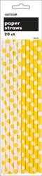 DOTS YELLOW 20 PAPER STRAWS