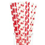 Red and White Dot Straws (10)