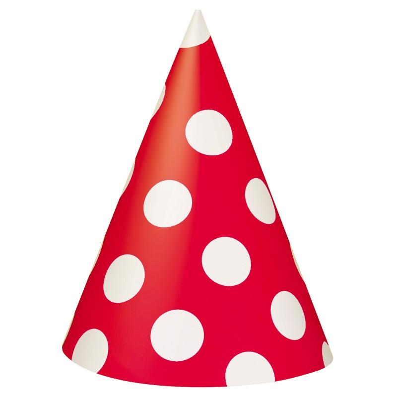 red and white polka dots cone hats this party started rh thispartystarted com au Party Balloons Clip Art Red Hat Border Clip Art