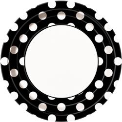 DOTS BLACK 9IN. PAPER PLATES