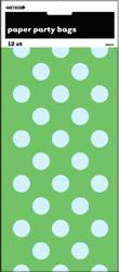 DOTS LIME GREEN 12 PAPER BAGS
