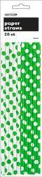 DOTS LIME GREEN 20 PAPER STRAWS