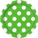 DOTS LIME GREEN 7IN. PAPER PLATES