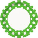 DOTS LIME GREEN 9IN PAPER PLATES
