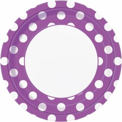 DOTS PRETTY PURPLE 9in. PAPER PLATES  sc 1 st  This Party Started & Purple Polka Dots Lunch Plates | Purple Party Supplies | This Party ...