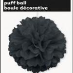 PUFF BALL DECOR BLACK 40cm 16in