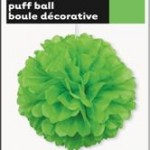 PUFF BALL DECOR LIME GREEN 40cm 16in