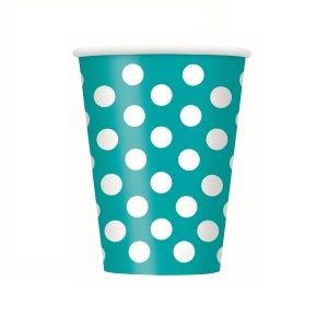 Caribbean Teal and White Dots 12 oz. Cups (6)