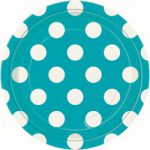 Caribbean Teal and White Dots Dessert Plates (8)
