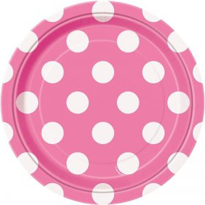 Pink and White Dots- Dessert Plates