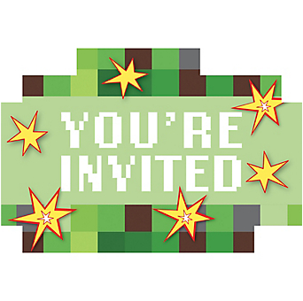 Minecraft Party Invitations 8ct Minecraft Party Ideas This