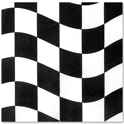 Black & White Checkered Beverage Napkins 18ct