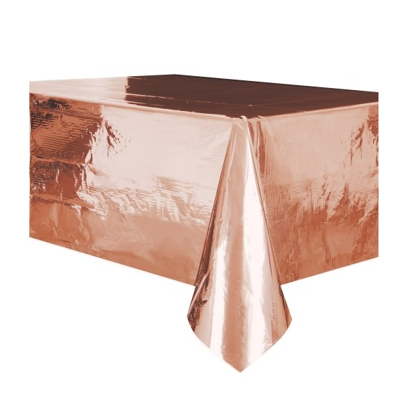 Rose Gold Metallic Plastic Tablecover