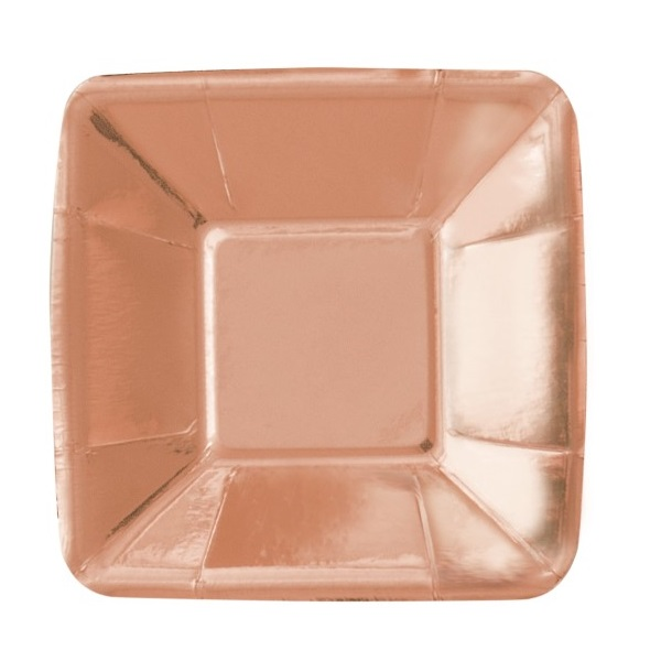 Rose Gold Square Appetizer Paper Plates