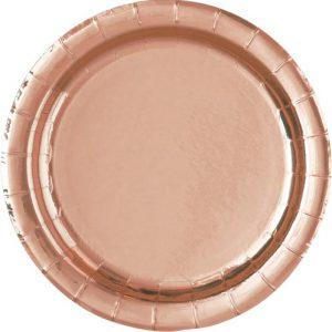 Rose Gold 23cm Round Paper Plates