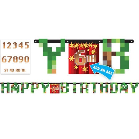 Minecraft Birthday Banner Kit